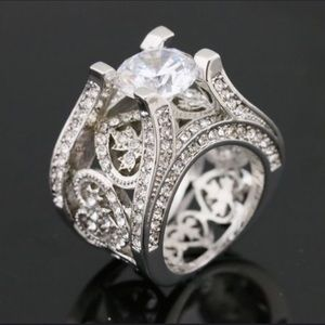 Jewelry - White Sapphire Sterling Silver Engagement Ring-NEW